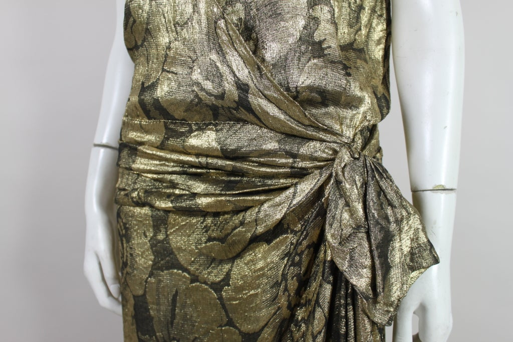 1920s Gold Lamé Floral Flapper Party Dress 10