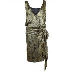 1920s Gold Lamé Floral Flapper Party Dress