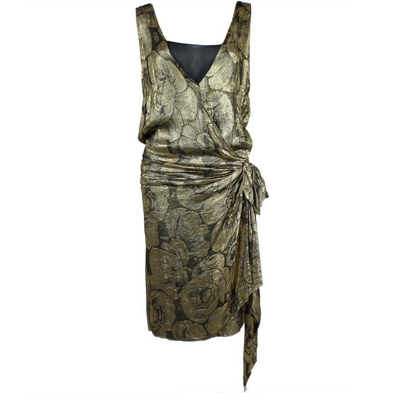 1920s Gold Lamé Floral Flapper Party Dress 1