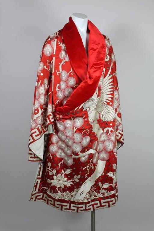 Art Deco Fiery Red Silk Kimono with Falcon Embroidery 2