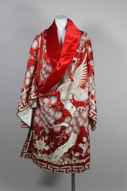 Art Deco Fiery Red Silk Kimono with Falcon Embroidery 3