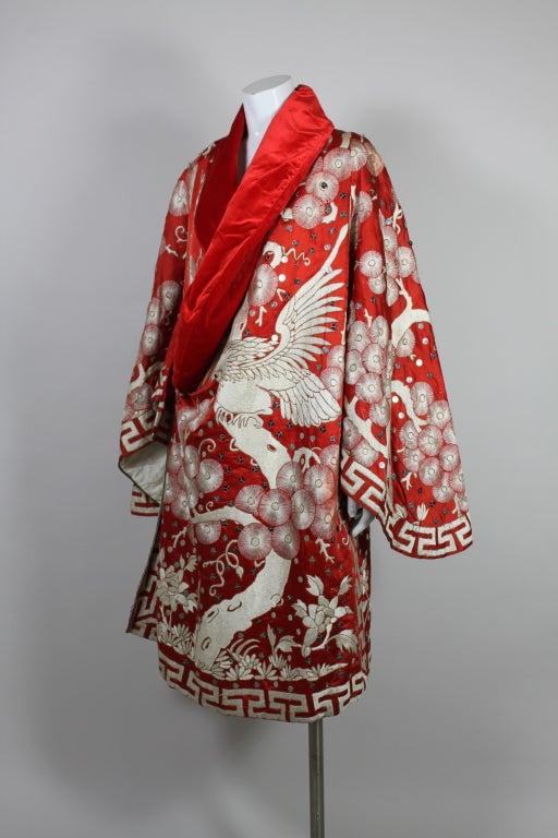 Art Deco Fiery Red Silk Kimono with Falcon Embroidery 4
