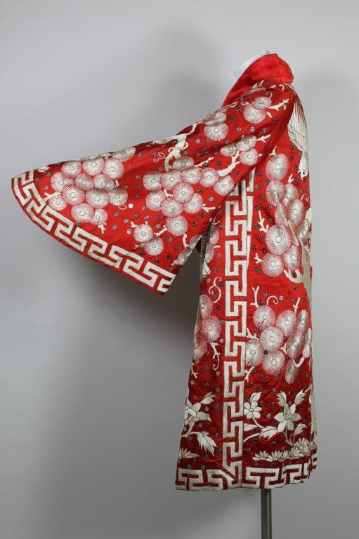 Art Deco Fiery Red Silk Kimono with Falcon Embroidery 5