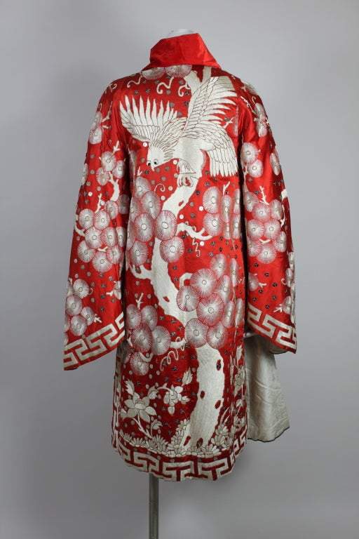 Art Deco Fiery Red Silk Kimono with Falcon Embroidery 6