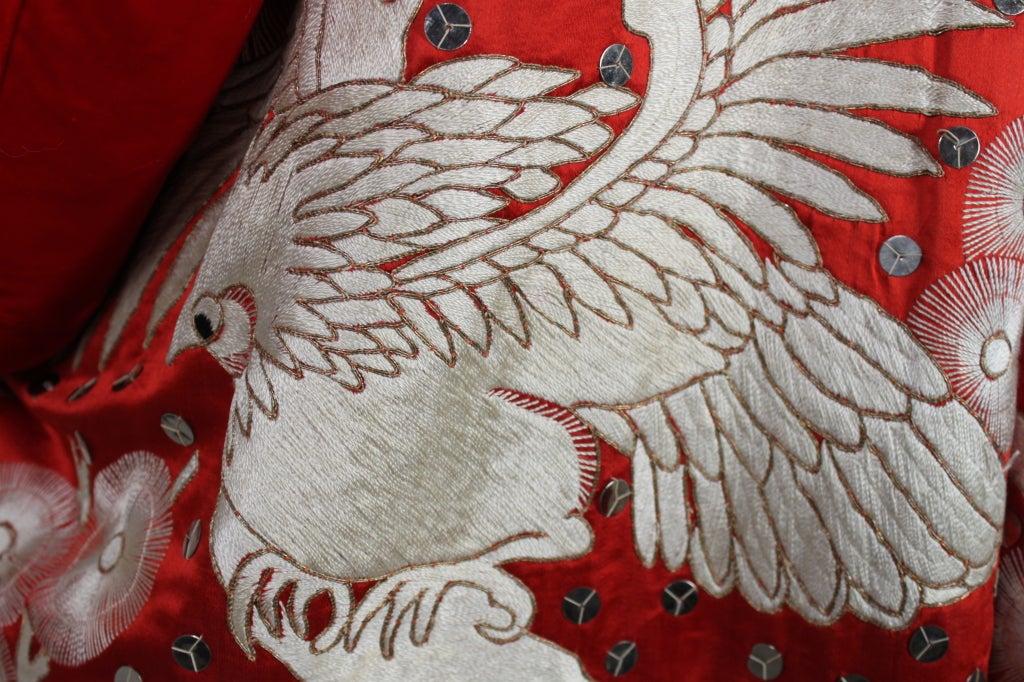 Art Deco Fiery Red Silk Kimono with Falcon Embroidery 7