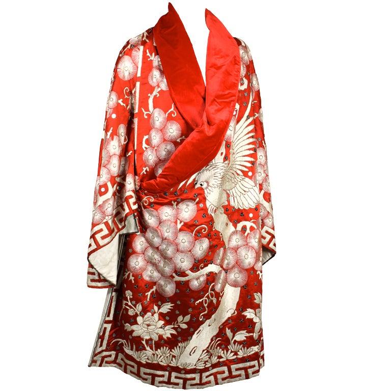 Art Deco Fiery Red Silk Kimono with Falcon Embroidery 1