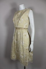 1960's Embellished Cream Soutache Lace Cocktail Dress thumbnail 2