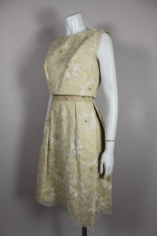 1960's Embellished Cream Soutache Lace Cocktail Dress 2