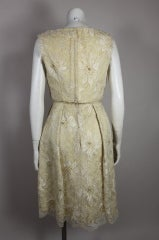 1960's Embellished Cream Soutache Lace Cocktail Dress thumbnail 4