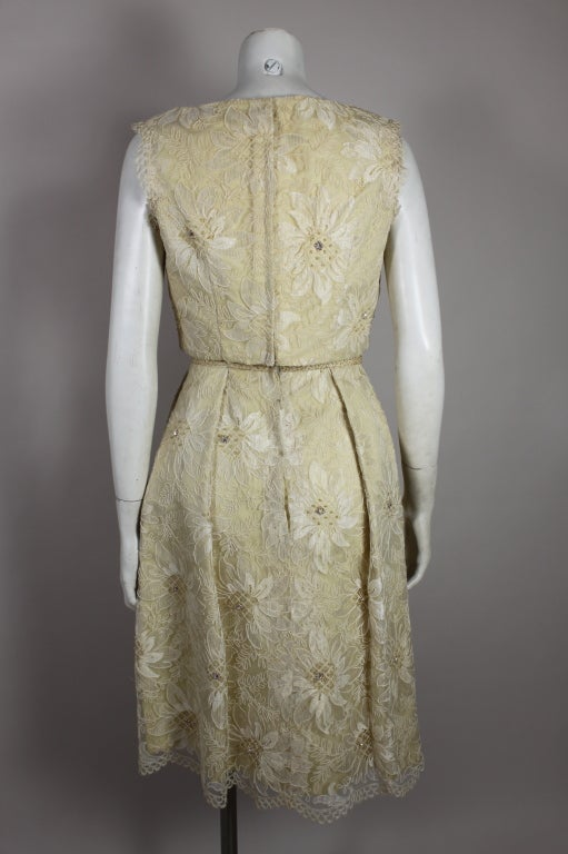 1960's Embellished Cream Soutache Lace Cocktail Dress image 4