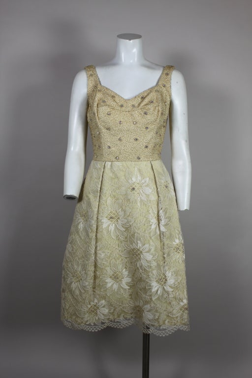 1960's Embellished Cream Soutache Lace Cocktail Dress 5