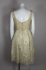 1960's Embellished Cream Soutache Lace Cocktail Dress thumbnail 6