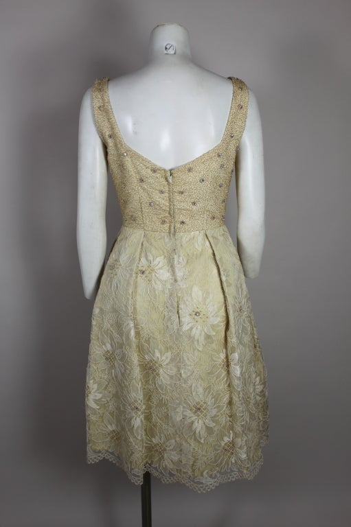 1960's Embellished Cream Soutache Lace Cocktail Dress image 6