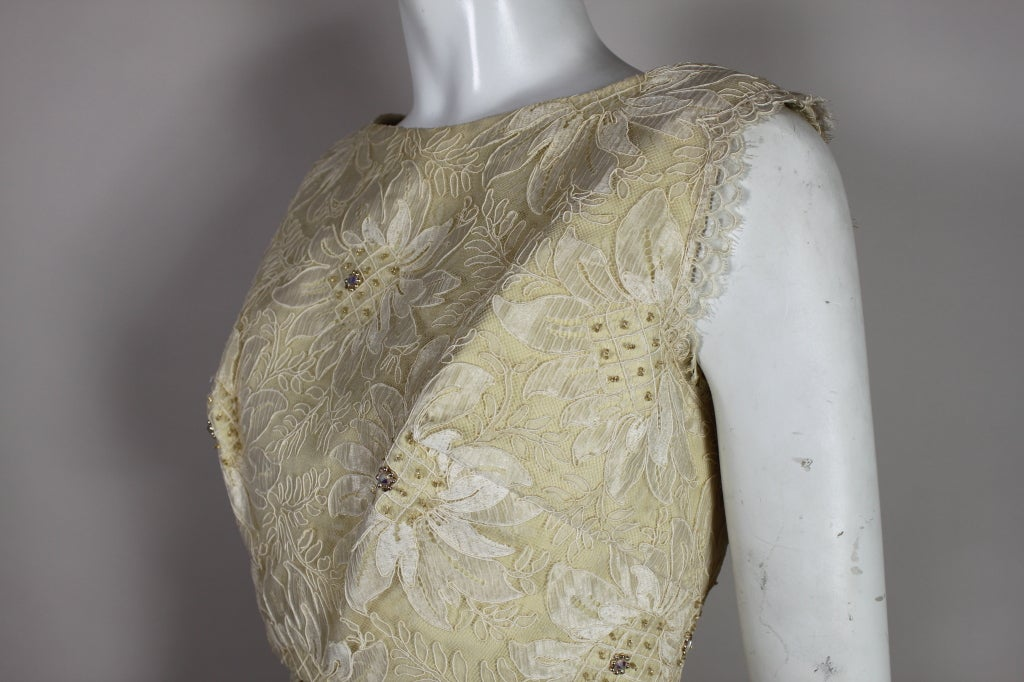 1960's Embellished Cream Soutache Lace Cocktail Dress image 7