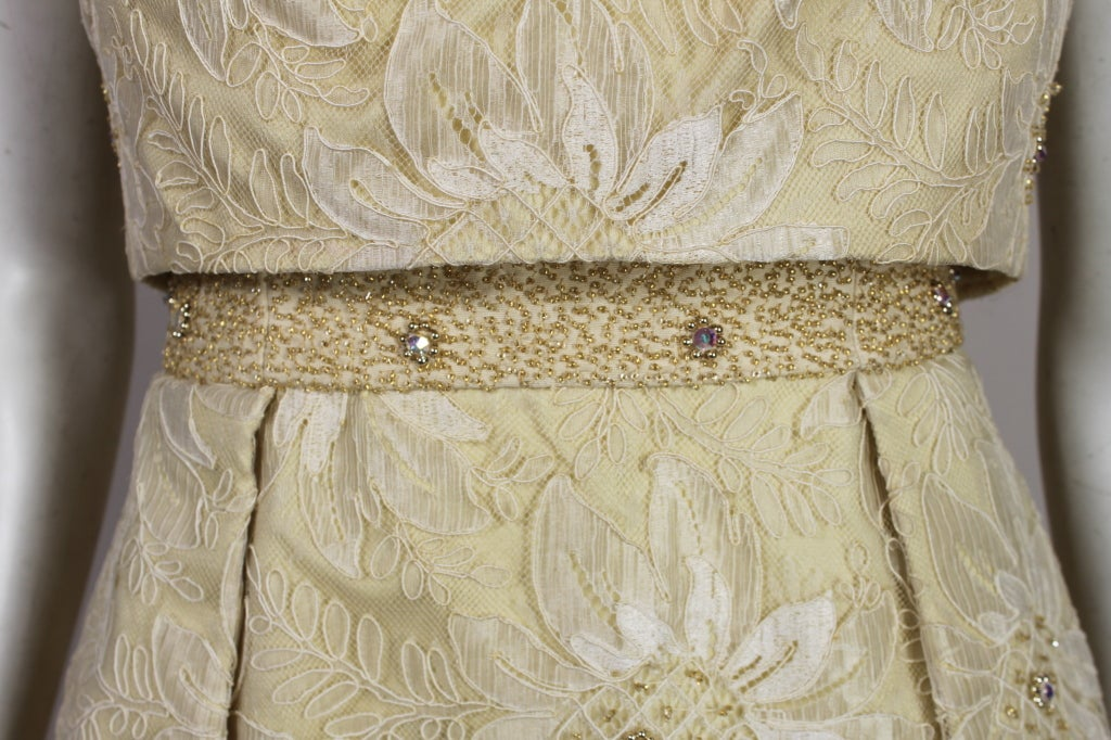 1960's Embellished Cream Soutache Lace Cocktail Dress image 8