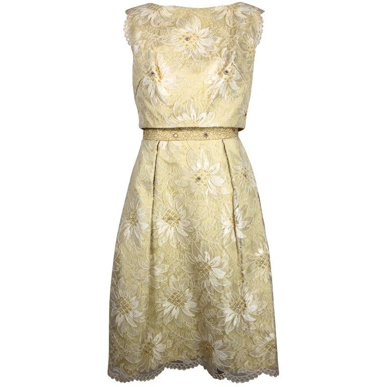 1960's Embellished Cream Soutache Lace Cocktail Dress 1