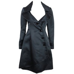 1990's Lifetime Givenchy Couture Black Satin Coat Dress