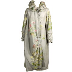 1920's Dove Grey Silk Coat with Asian Embroidery
