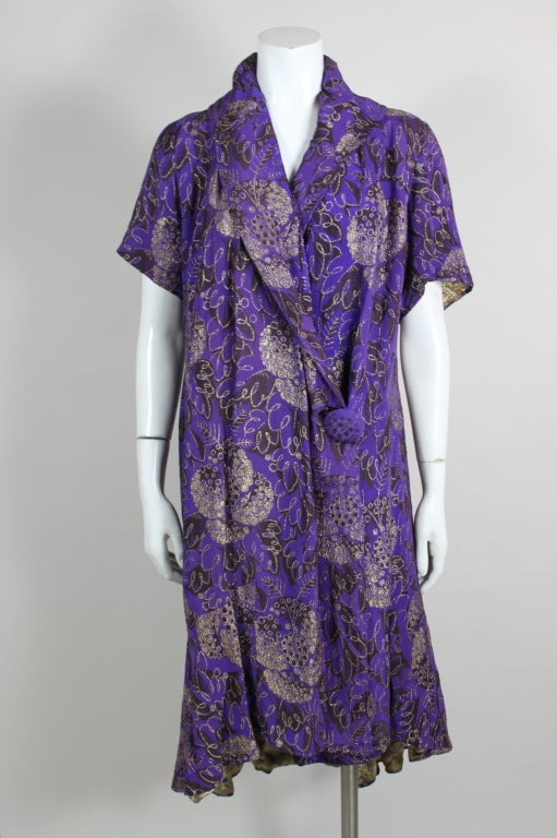 1920s Purple and Gold Lame Short Sleeve Coat 2