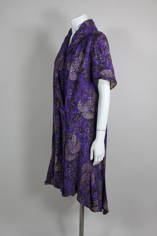 1920s Purple and Gold Lame Short Sleeve Coat 3