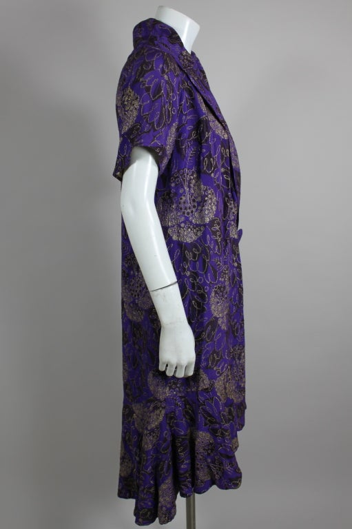 1920s Purple and Gold Lame Short Sleeve Coat 5