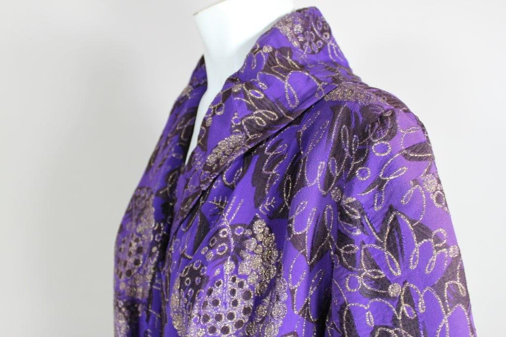 1920s Purple and Gold Lame Short Sleeve Coat 7