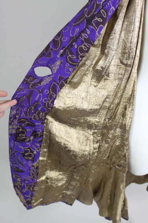 1920s Purple and Gold Lame Short Sleeve Coat 9