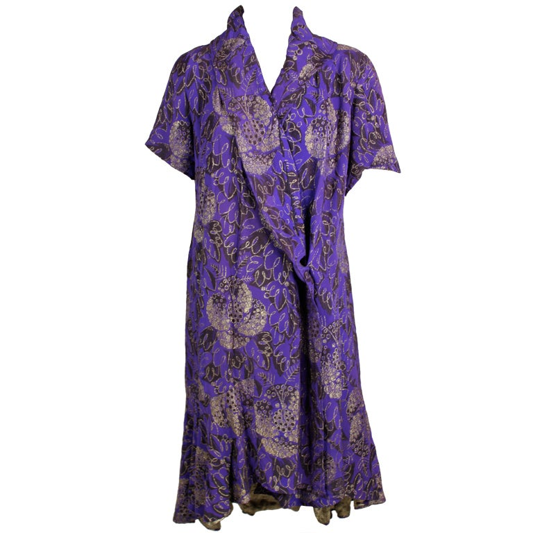 1920s Purple and Gold Lame Short Sleeve Coat 1