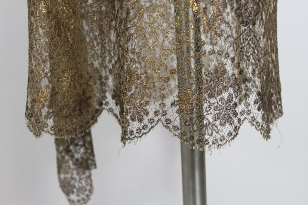 1920s Gold Lamé Lace Dress with Flower Detail 10