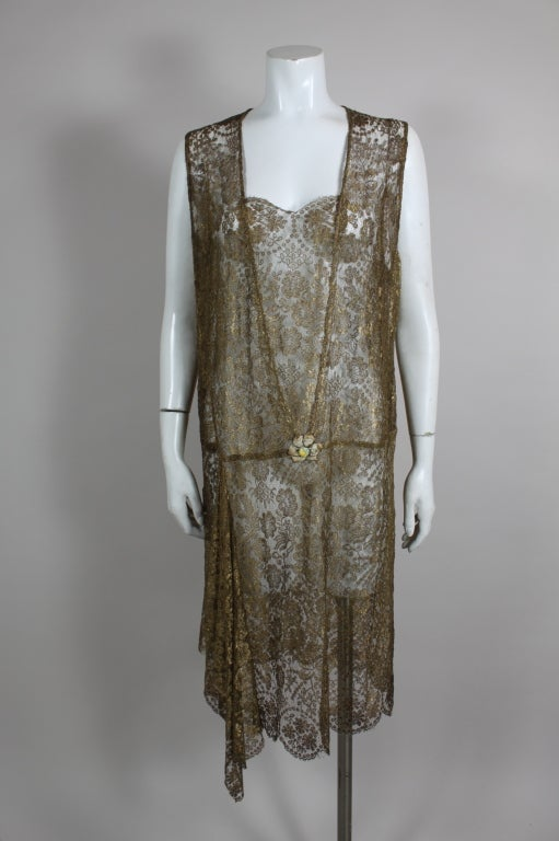 1920s Gold Lamé Lace Dress with Flower Detail 2