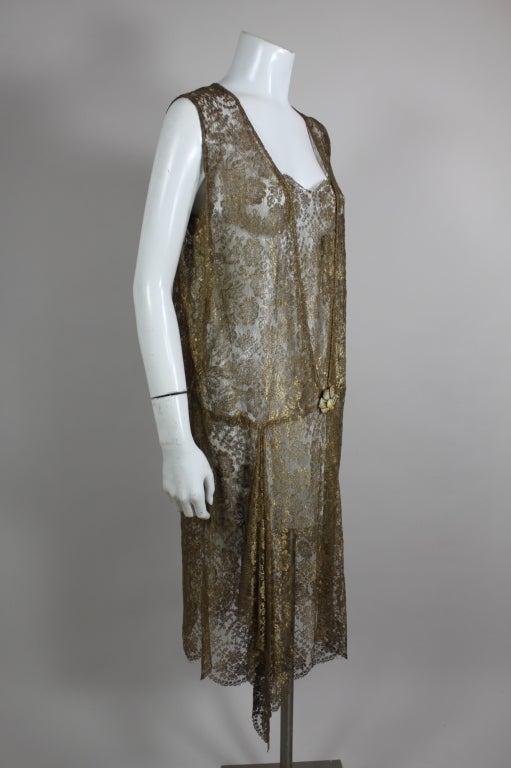 1920s Gold Lamé Lace Dress with Flower Detail 3