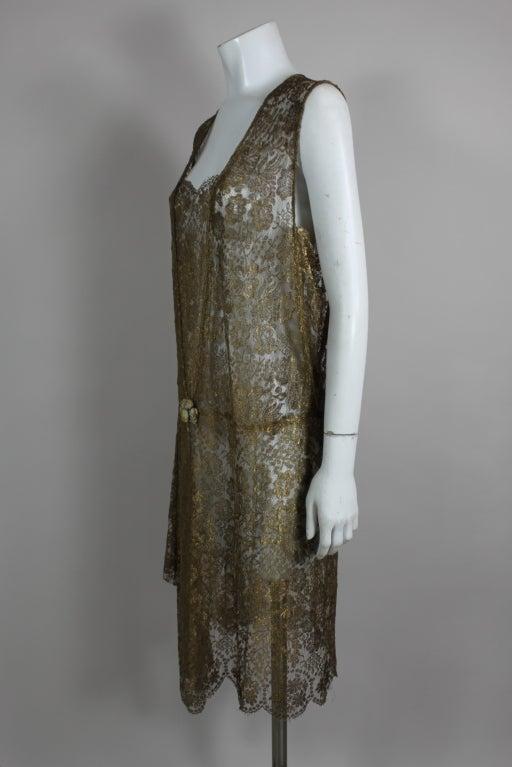1920s Gold Lamé Lace Dress with Flower Detail 4