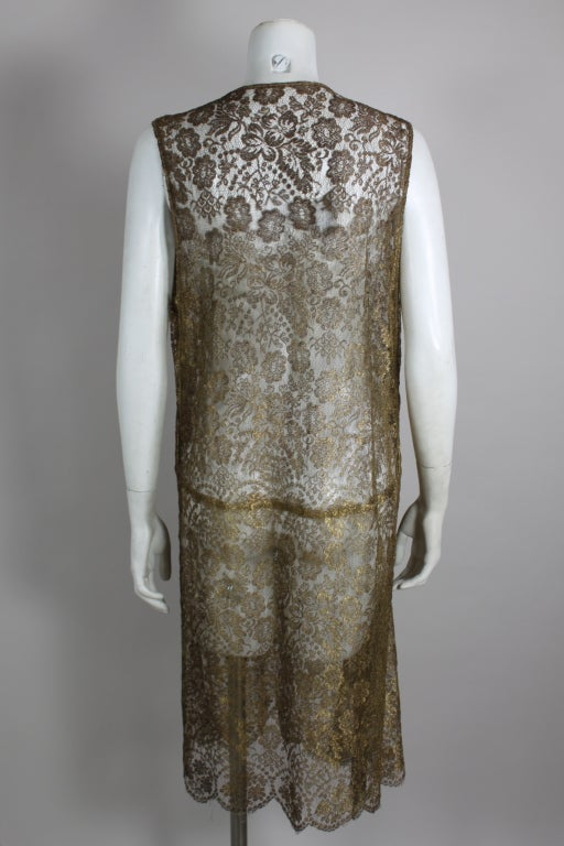 1920s Gold Lamé Lace Dress with Flower Detail 6