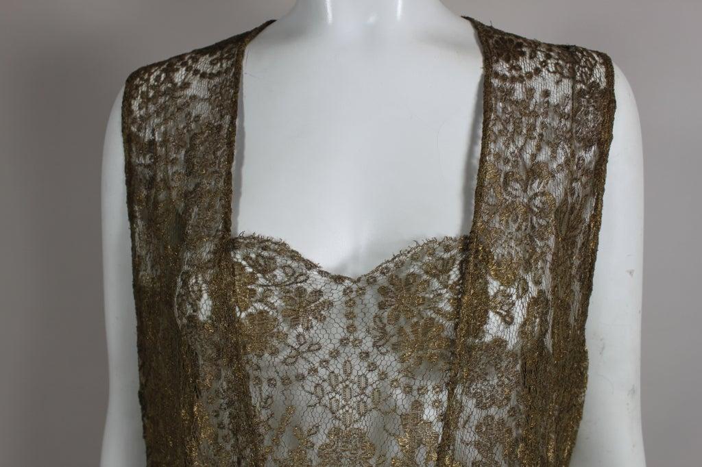 1920s Gold Lamé Lace Dress with Flower Detail 7