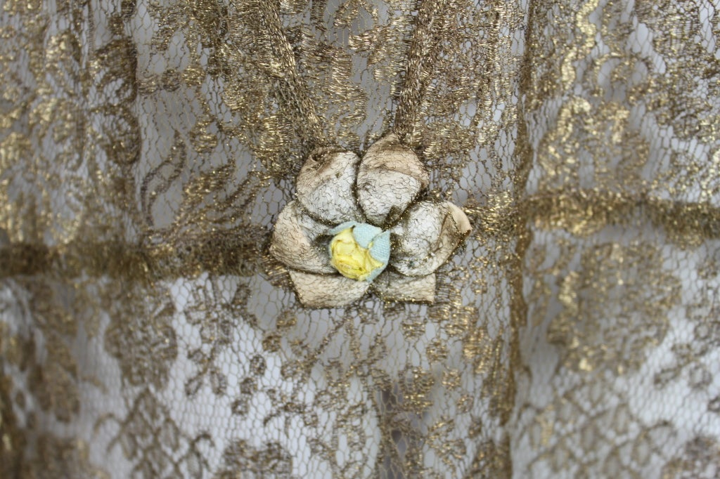 1920s Gold Lamé Lace Dress with Flower Detail 8