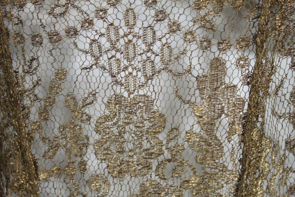 1920s Gold Lamé Lace Dress with Flower Detail 9