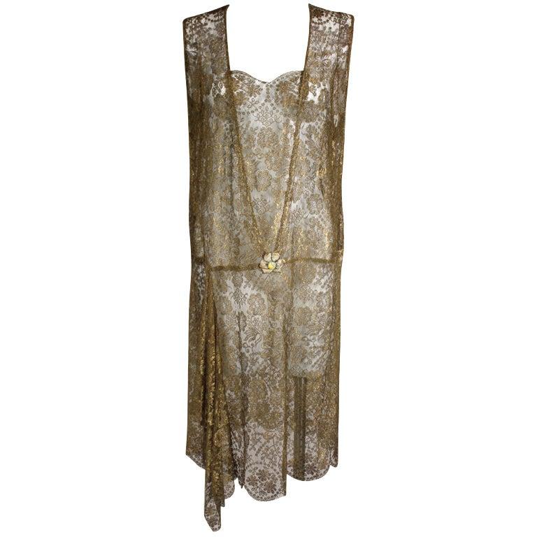 1920s Gold Lamé Lace Dress with Flower Detail 1