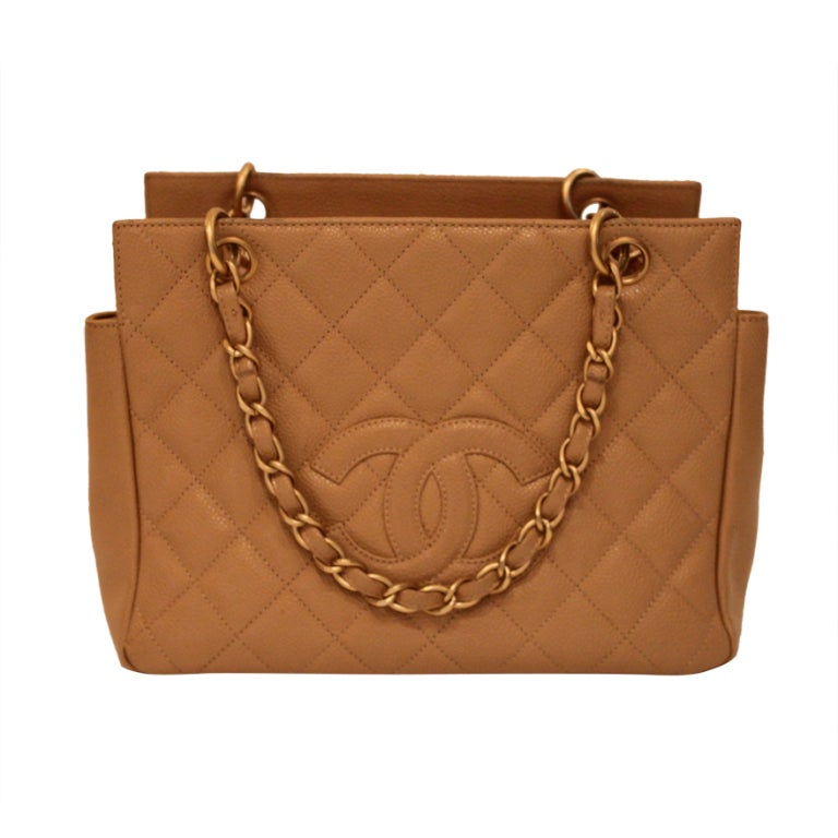 Chanel Caramel Quilted Leather Handbag with Monogram 1