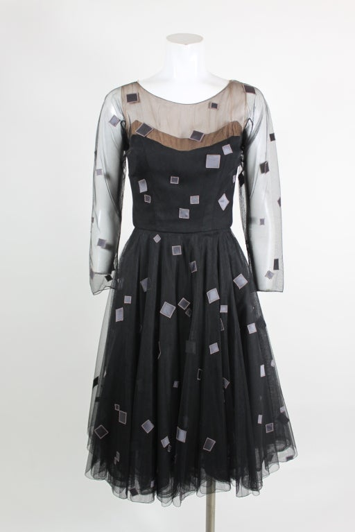 1950's Sophie of Saks Tulle Cocktail Dress with Geometric Embroi 2