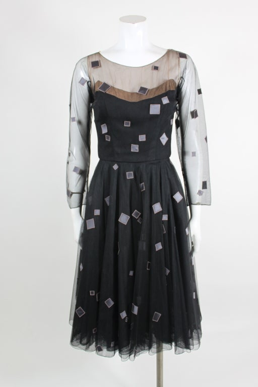 1950's Sophie of Saks Tulle Cocktail Dress with Geometric Embroi 3