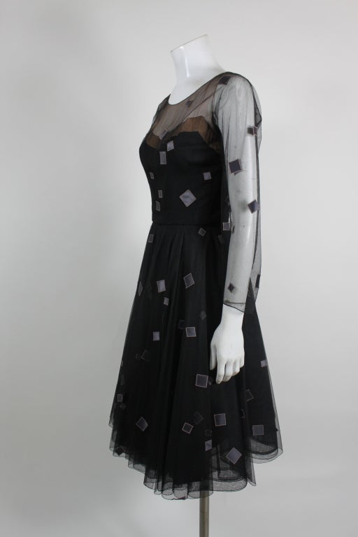 1950's Sophie of Saks Tulle Cocktail Dress with Geometric Embroi 4