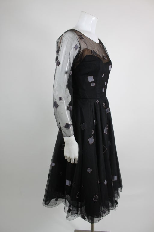 1950's Sophie of Saks Tulle Cocktail Dress with Geometric Embroi 5