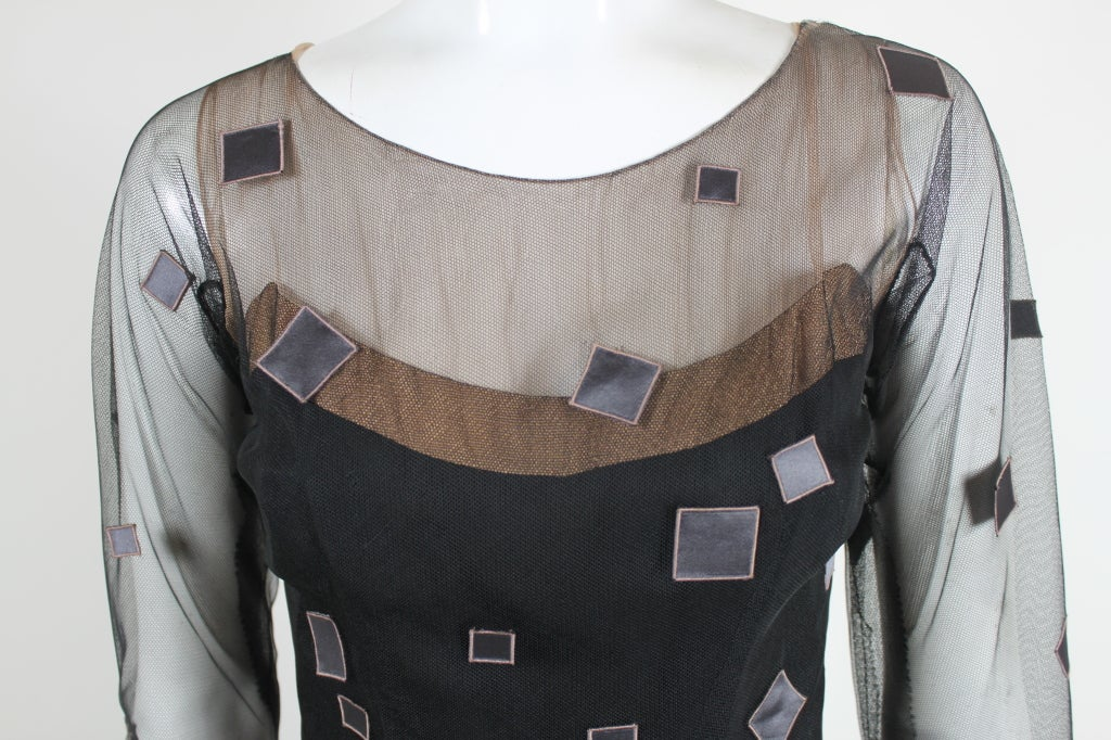 1950's Sophie of Saks Tulle Cocktail Dress with Geometric Embroi 6