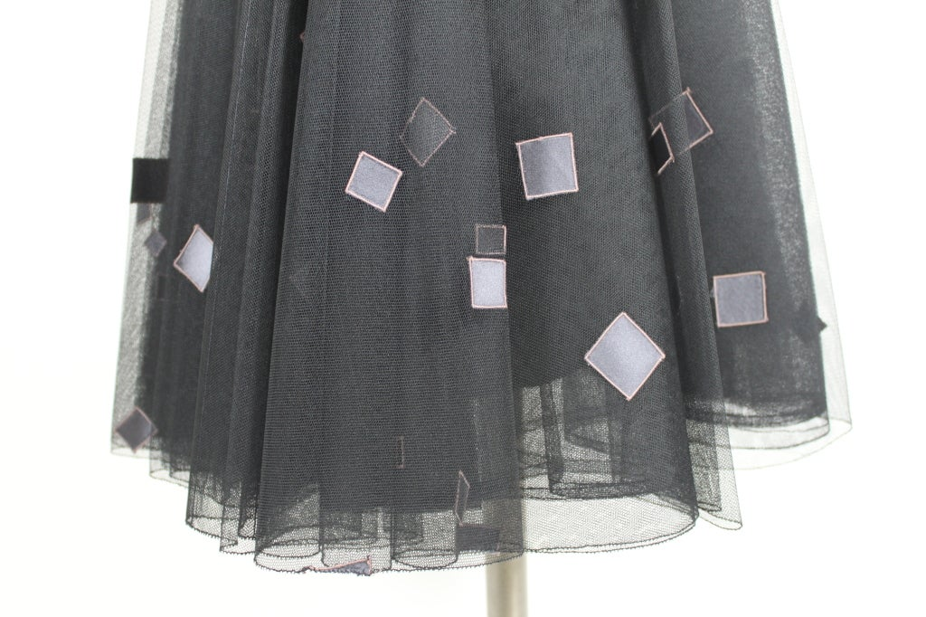 1950's Sophie of Saks Tulle Cocktail Dress with Geometric Embroi 8