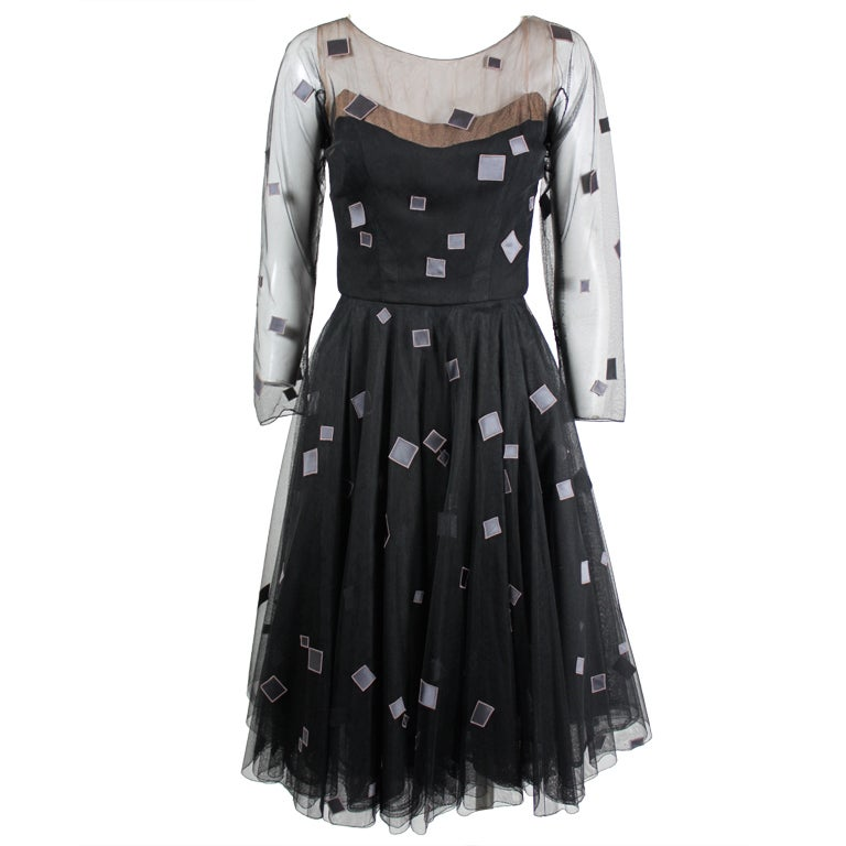 1950's Sophie of Saks Tulle Cocktail Dress with Geometric Embroi 1