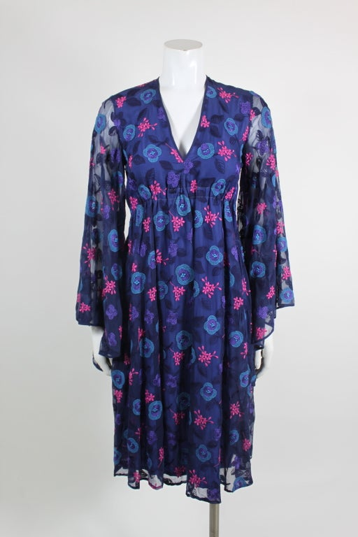 Late 1960's Philippe Venet Embroidered Floral Cocktail Dress 2