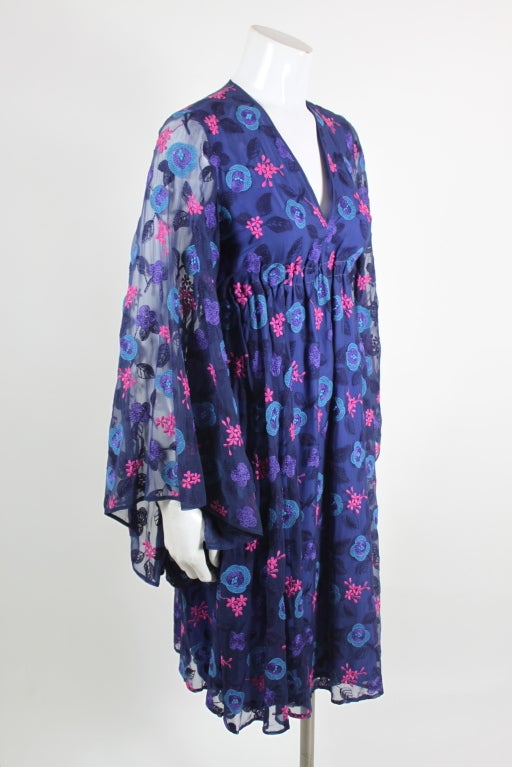 Late 1960's Philippe Venet Embroidered Floral Cocktail Dress 3