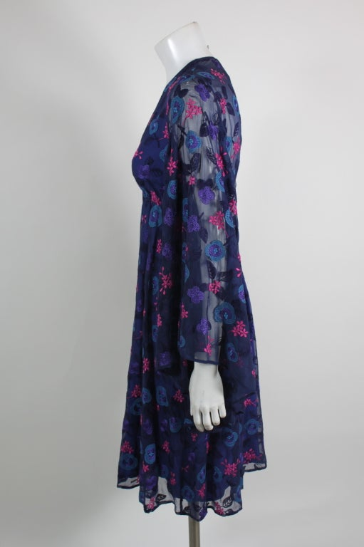 Late 1960's Philippe Venet Embroidered Floral Cocktail Dress 4