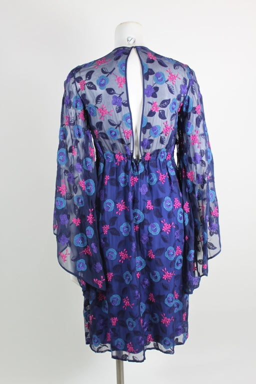 Late 1960's Philippe Venet Embroidered Floral Cocktail Dress 6