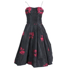 1950s Black and Fuchsia Floral Silk Taffeta Cocktail Dress